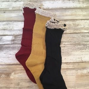 Other - Three Pairs Fall Colors Boot Socks